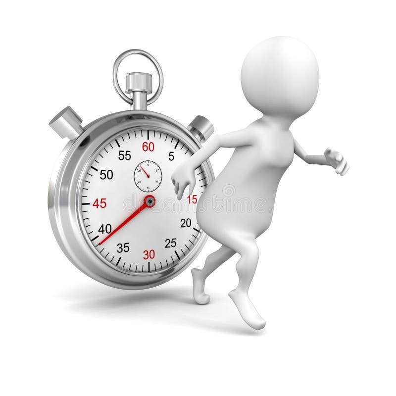 Wit 3d mensenbegin die met grote chronometer lopen vector illustratie