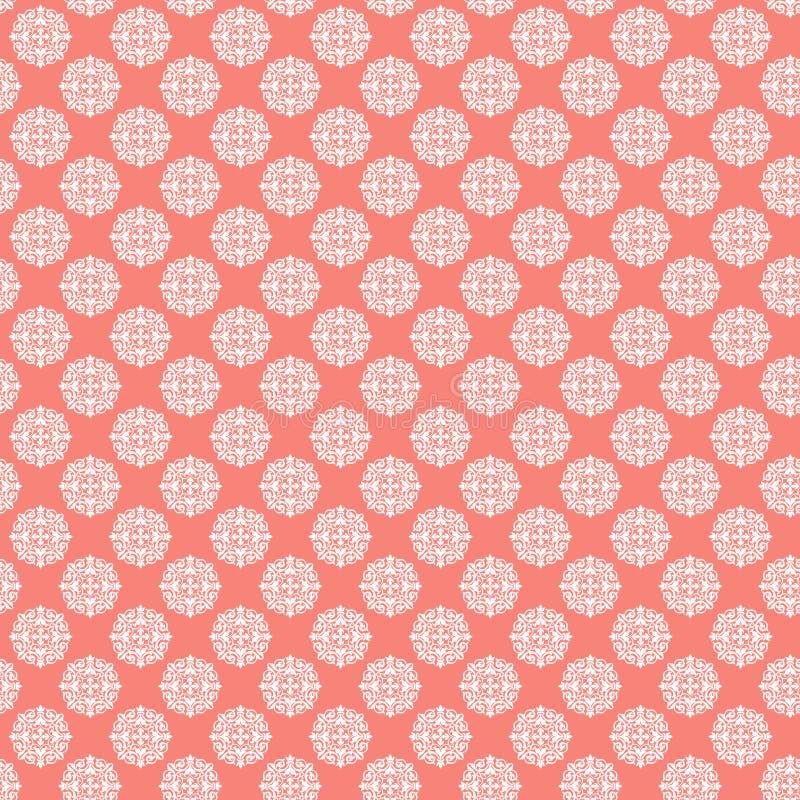 Wit damast geometrisch patroon op koraalachtergrond, Geometrisch ornamentpatroon Coral Wallpaper vector illustratie