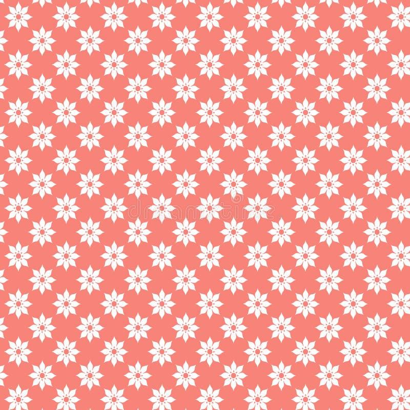 Wit damast geometrisch patroon op koraalachtergrond, Geometrisch ornamentpatroon Coral Wallpaper stock illustratie