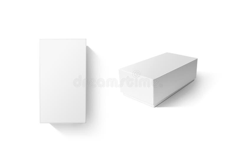 Wit de doos vastgesteld model van het kartonproduct, hoogste zijaanzicht vector illustratie