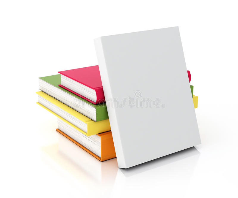 Wit die boek op multicolored boekentoren wordt geleund, op witte achtergrond wordt geïsoleerd royalty-vrije illustratie