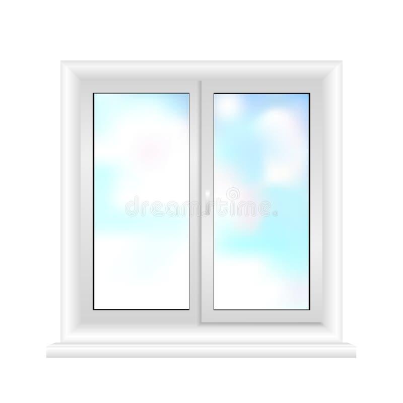 Wit die raamkozijn op witte achtergrond wordt geïsoleerd 3D Illustratie Plastic witte venstervector royalty-vrije illustratie