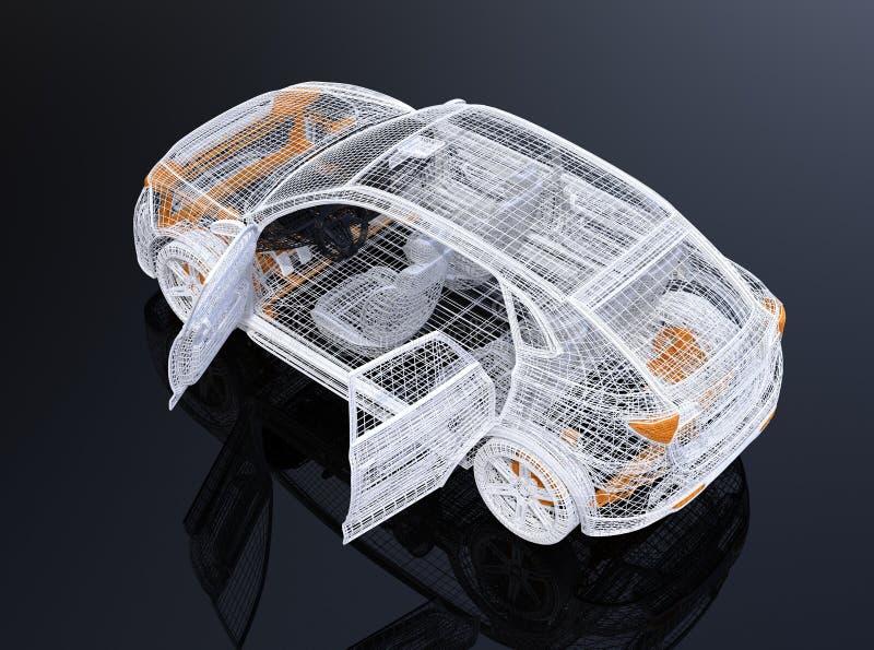 Wit draadkader van elektrisch SUV op zwarte achtergrond vector illustratie