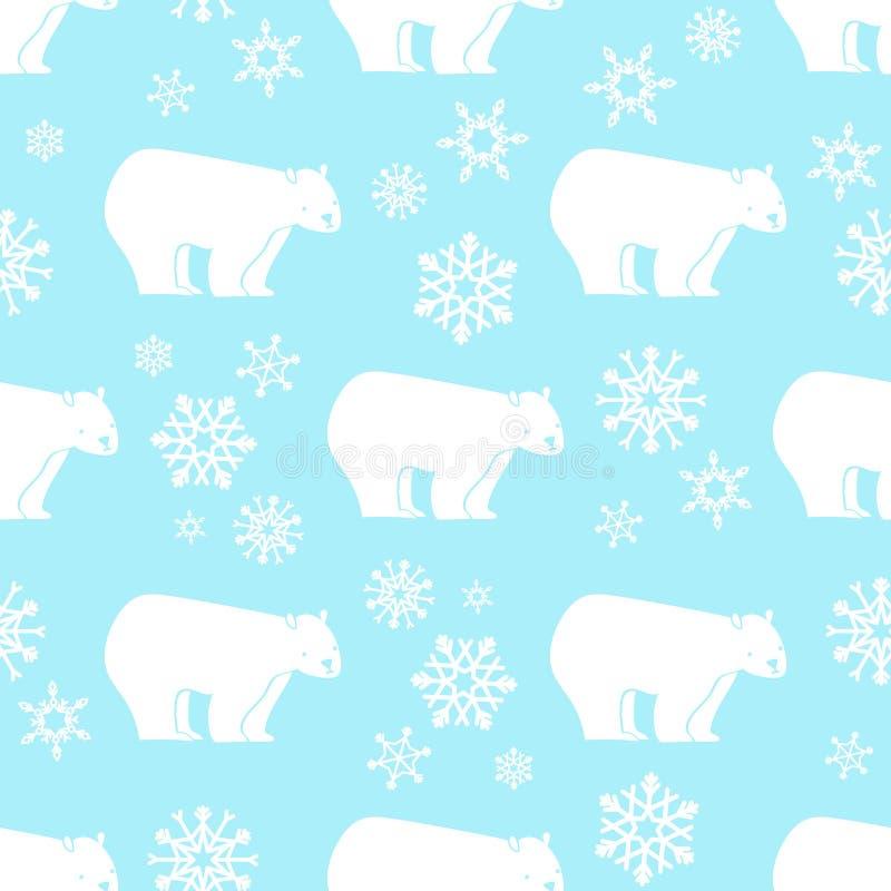 Wit draag naadloos patroon met wit en blauwe sneeuwvlokken royalty-vrije illustratie