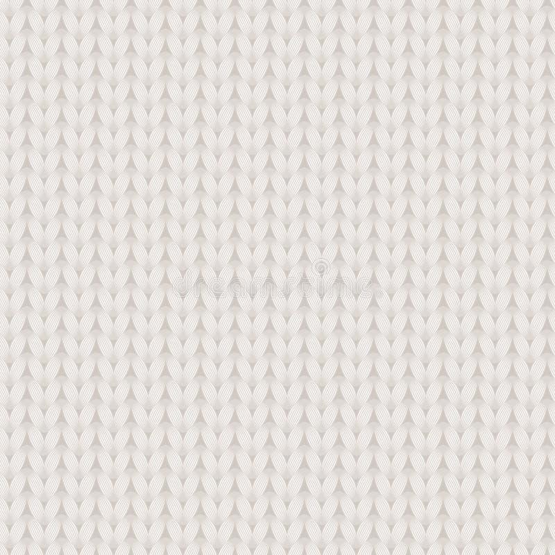 Wit en beige gebreid stoffen naadloos patroon, vector royalty-vrije illustratie