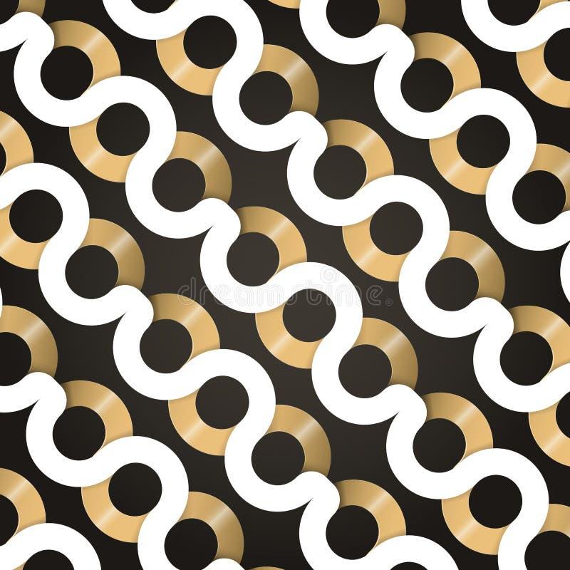 Wit en gouden golvend geometrisch patroon De abstracte achtergrond van Curvy royalty-vrije illustratie