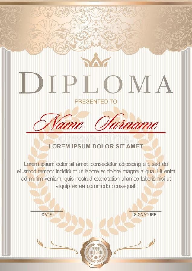 Wit en gouden luxediploma in de Koninklijke stijl vector illustratie