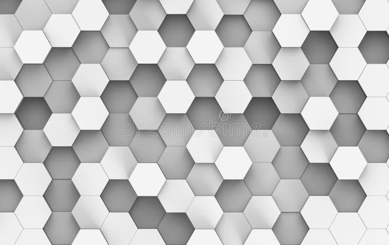 Wit en Grey Hexagon Background Texture 3d geef terug stock illustratie