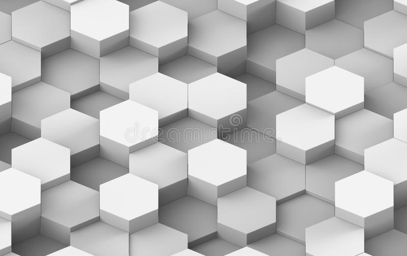 Wit en Grey Hexagon Background Texture 3d geef terug vector illustratie