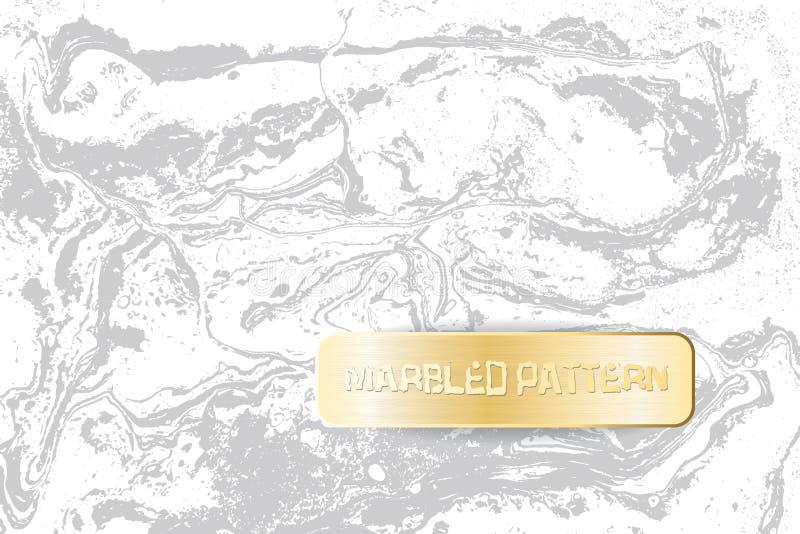 Wit en grijs marmeren patroon Lichte marmeringstextuur Decoratieve marmerachtergrond met gouden banner Vector stock illustratie