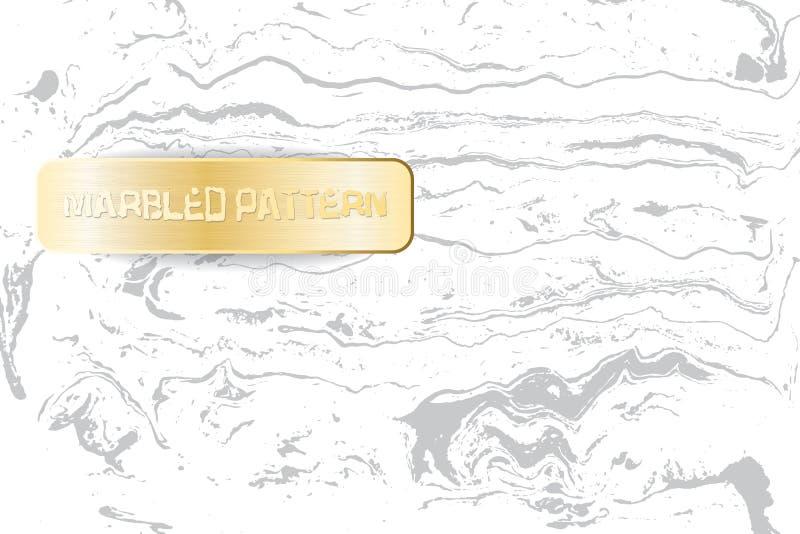Wit en grijs marmeren patroon Lichte marmeringstextuur Decoratieve marmerachtergrond met gouden banner Vector royalty-vrije illustratie
