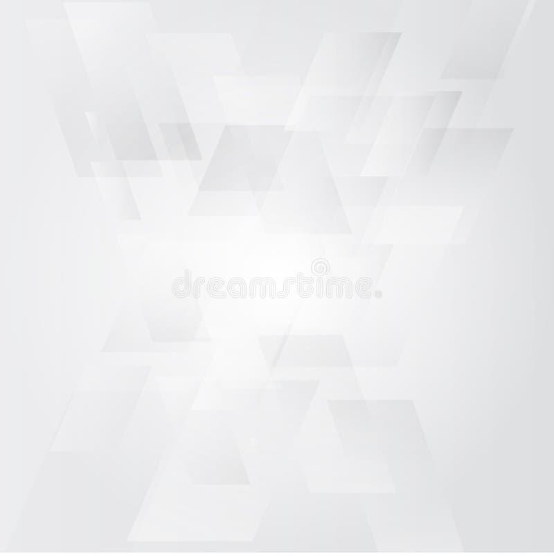 Wit en grijs vierkant op moderne witte abstracte achtergrond stock illustratie