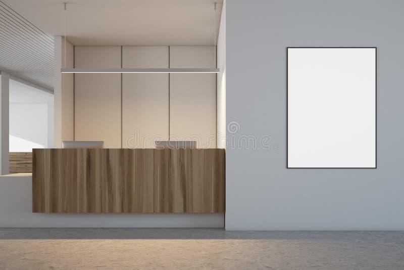 Wit en houten bureaubinnenland, ontvangstaffiche royalty-vrije stock afbeeldingen