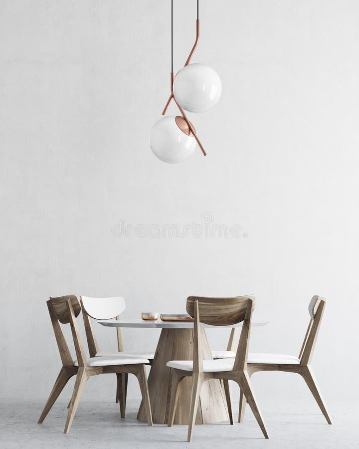 Wit en houten minimalistic eetkamerbinnenland stock illustratie