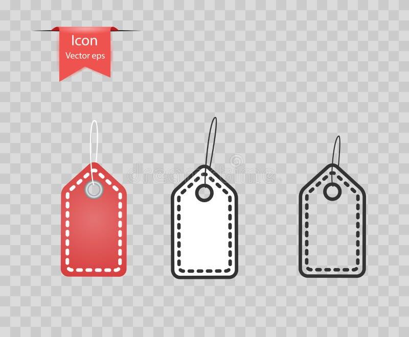 Wit en Rood die prijskaartjeetiket met een lijn en een draad op een transparante achtergrond wordt geïsoleerd Het concept verkoop royalty-vrije illustratie