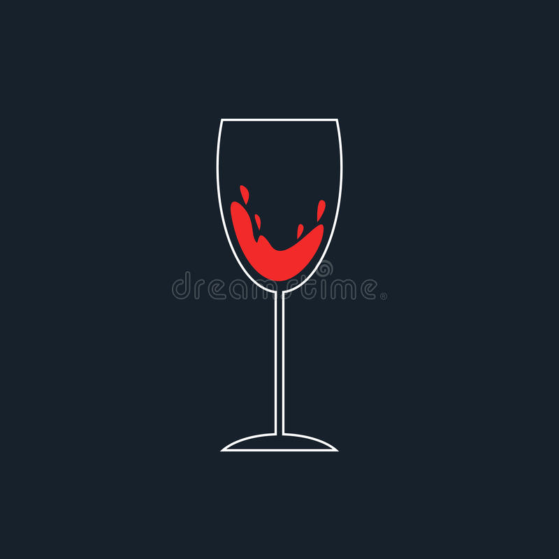 Wit en rood eenvoudig wijnglaspictogram stock illustratie