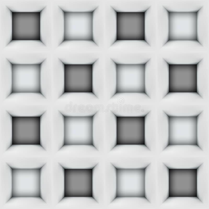 Wit en zwart abstract kubussen 3D naadloos patroon royalty-vrije illustratie