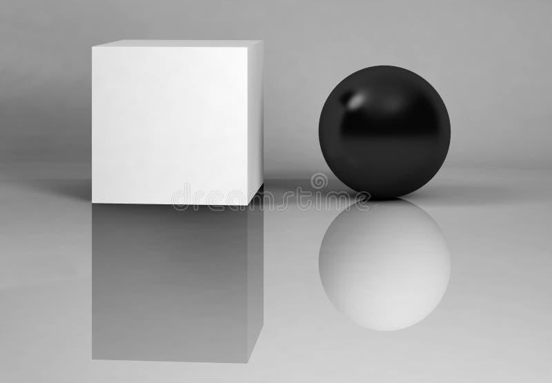 Wit en zwarte - bezinningen. royalty-vrije illustratie