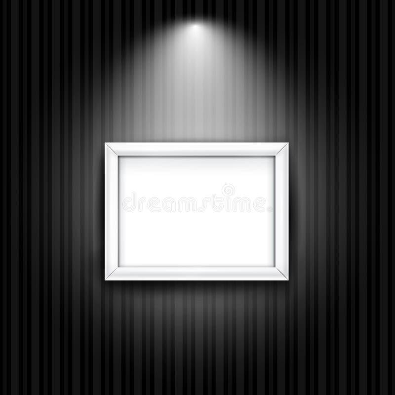 Wit fotokader op zwarte gestreepte muur Vector royalty-vrije illustratie