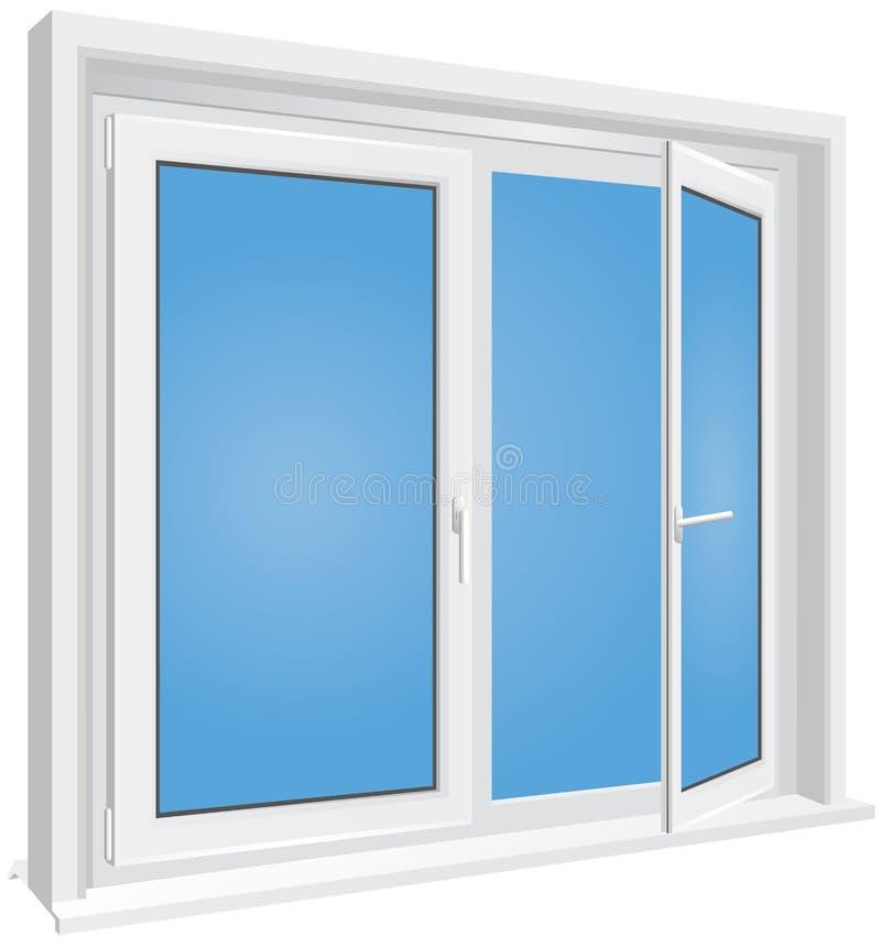 Wit geopend venster op geïsoleerde achtergrond royalty-vrije illustratie