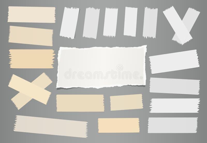 Wit gescheurd notitieboekje, notadocument blad, kleverige zelfklevende kleverige band voor tekst of bericht op grijze achtergrond stock illustratie