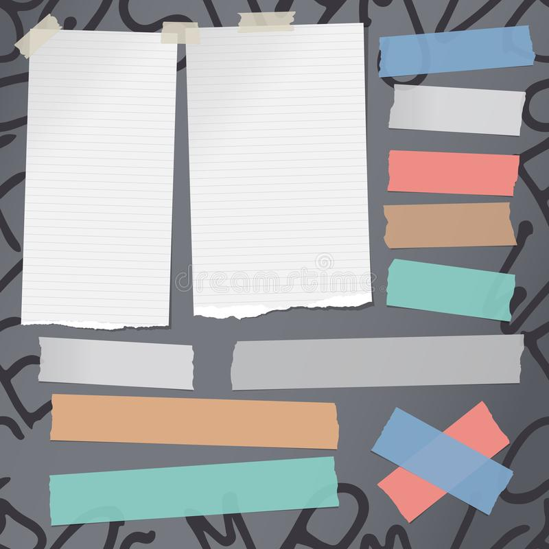 Wit gescheurd notitieboekje, notadocument, kleurrijke kleverige kleefstof, band voor tekst of bericht op grijze achtergrond met a vector illustratie