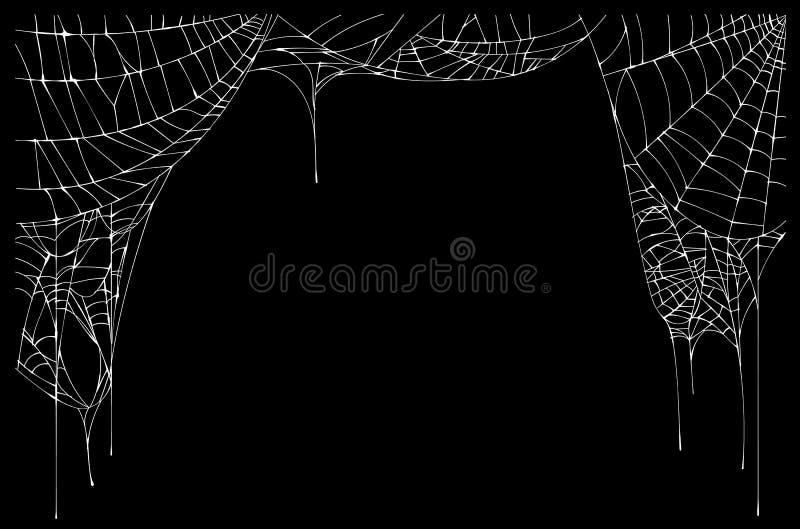 Wit gescheurd spinneweb op zwarte achtergrond royalty-vrije illustratie