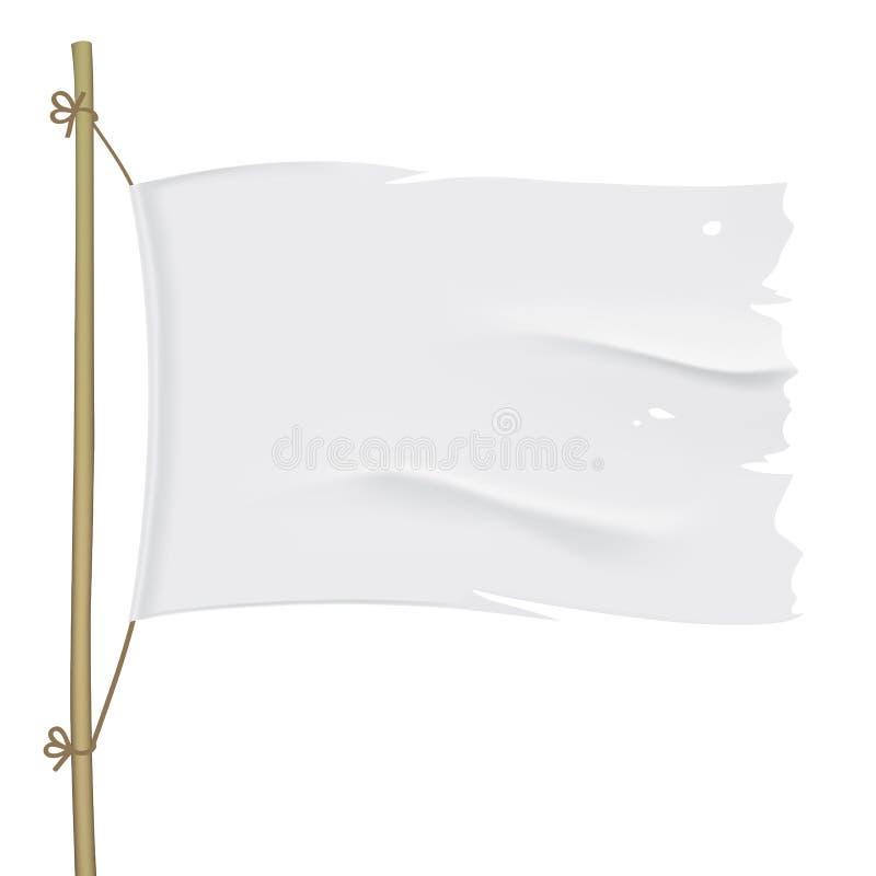 Wit gescheurd vectorvlag dicht omhoog malplaatje royalty-vrije stock foto