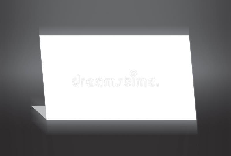 Wit gevouwen document dat zich op grijze achtergrond bevindt vector illustratie