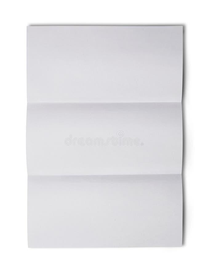 Wit gevouwen leeg blad van document voor correspondentie royalty-vrije stock foto