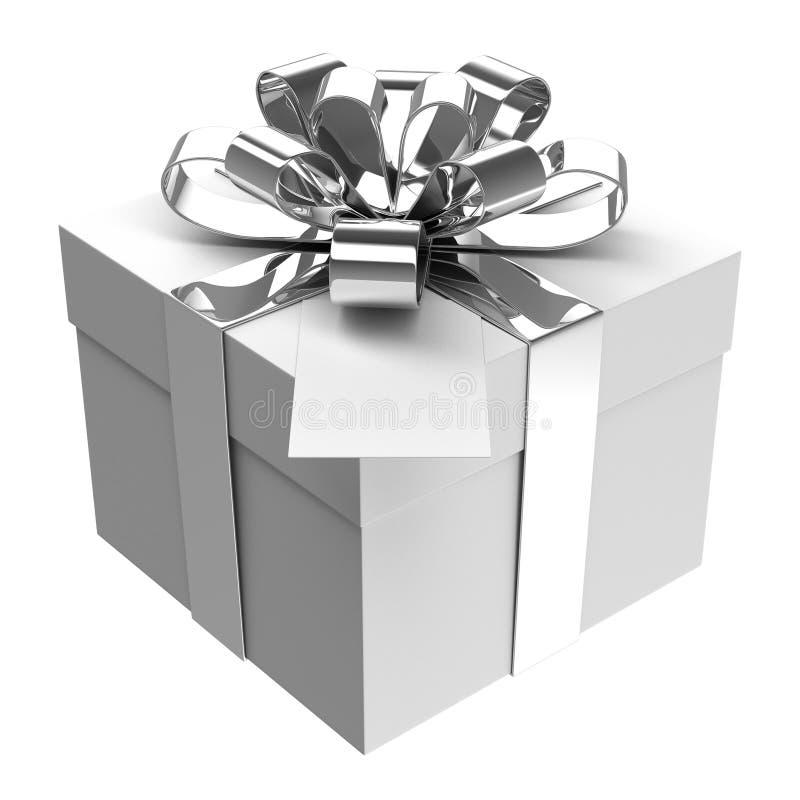 Wit giftvakje met zilveren lint en document kaart royalty-vrije stock foto's