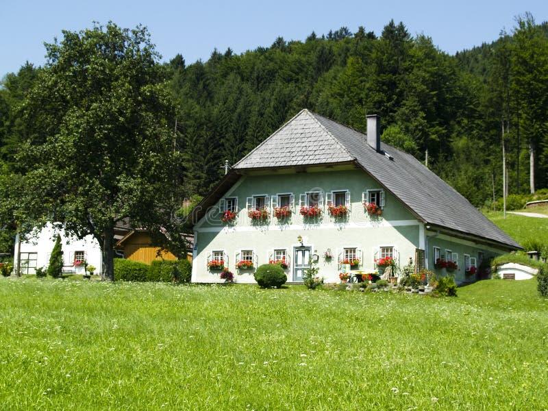 Wit groot huis in Alpen royalty-vrije stock foto
