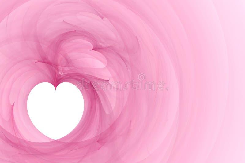 Wit hart op roze achtergrond stock illustratie