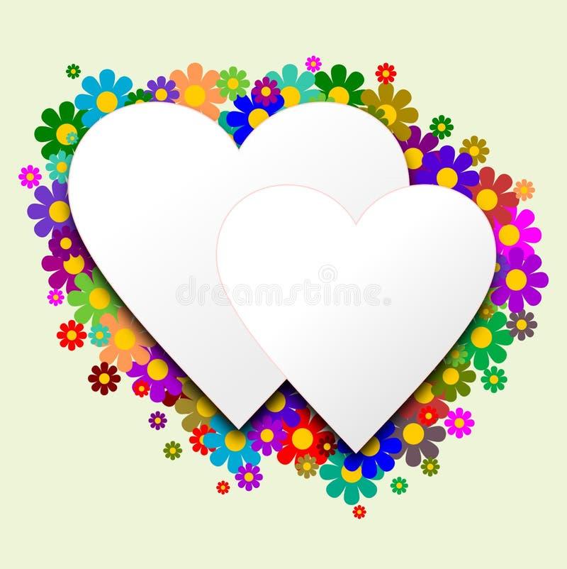 Wit hart twee met bloemen op de achtergrond stock illustratie