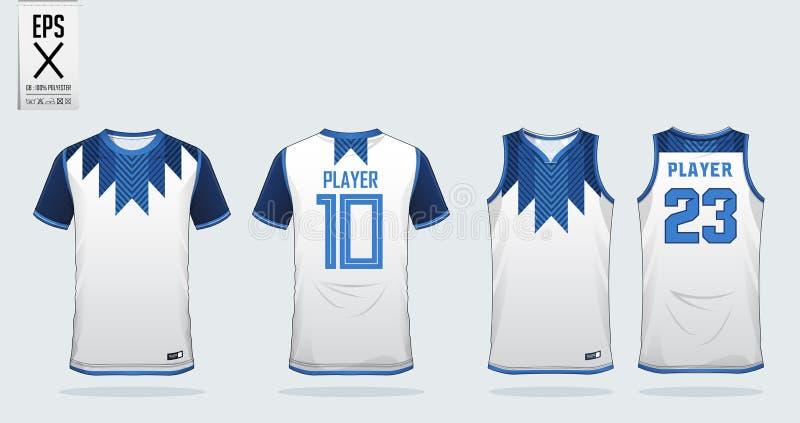 Wit het ontwerpmalplaatje van de t-shirtsport voor voetbal Jersey, voetbaluitrusting en mouwloos onderhemd voor basketbal Jersey  royalty-vrije illustratie