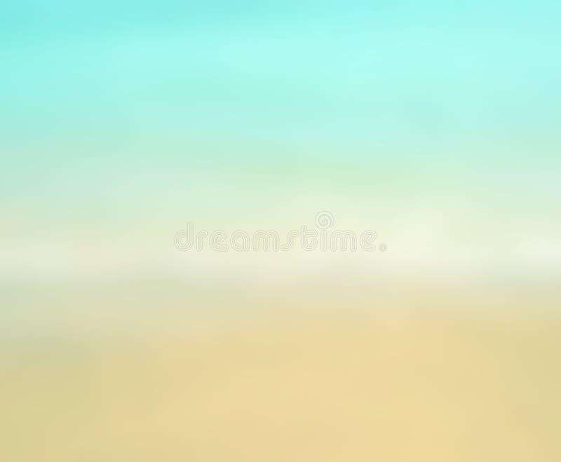 Wit het zandstrand van de onduidelijk beeldzomer Gradiëntkleur stock foto