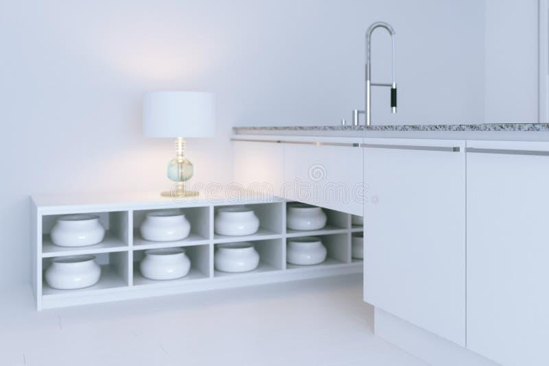 Wit hi-tech keuken binnenlands ontwerp 3d het close-up geeft terug royalty-vrije stock afbeeldingen