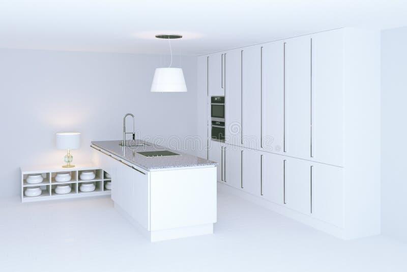 Wit hi-tech keuken binnenlands ontwerp De mening van het perspectief 3d trek uit royalty-vrije stock fotografie