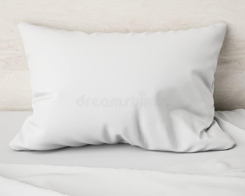 Wit hoofdkussen op het bed, achtergrond stock foto