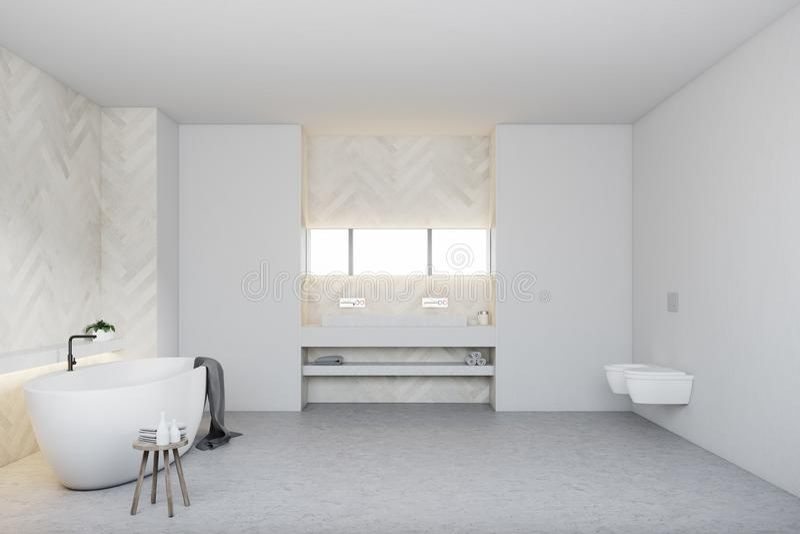Wit houten badkamers en toilet, ronde ton vector illustratie