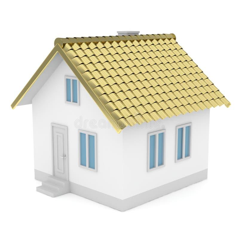 Wit huis met gouden dak het 3d teruggeven royalty-vrije illustratie