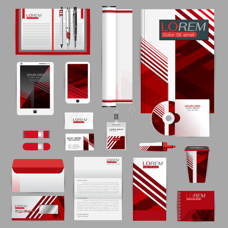 Wit identiteitsmalplaatje met blauwe origamielementen Vectorcompa stock illustratie