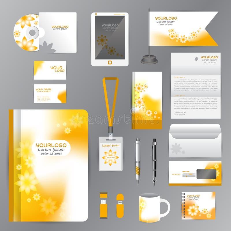 Wit identiteitsmalplaatje met de Gele elementen van de Bloemorigami Vec royalty-vrije illustratie