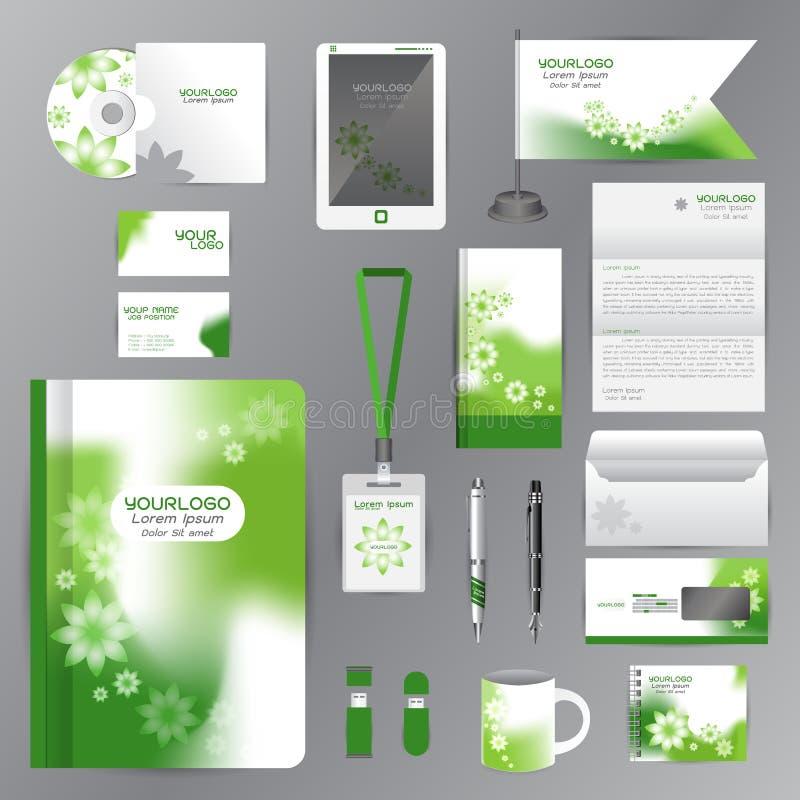 Wit identiteitsmalplaatje met de groene elementen van de Bloemorigami Vectorbedrijfstijl voor brandbookrichtlijn en CDs van Penne stock illustratie