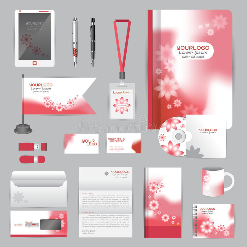 Wit identiteitsmalplaatje met de rode elementen van de Bloemorigami Vector stock illustratie
