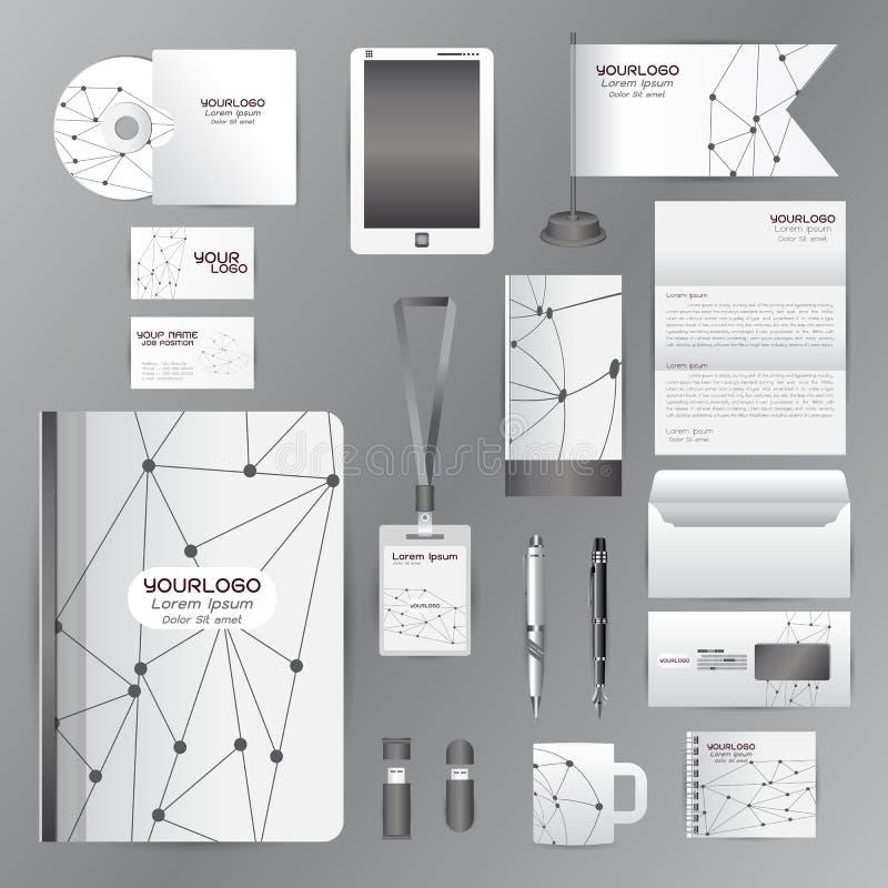 Wit identiteitsmalplaatje met het grijze bedrijf van origamielementsvector royalty-vrije illustratie