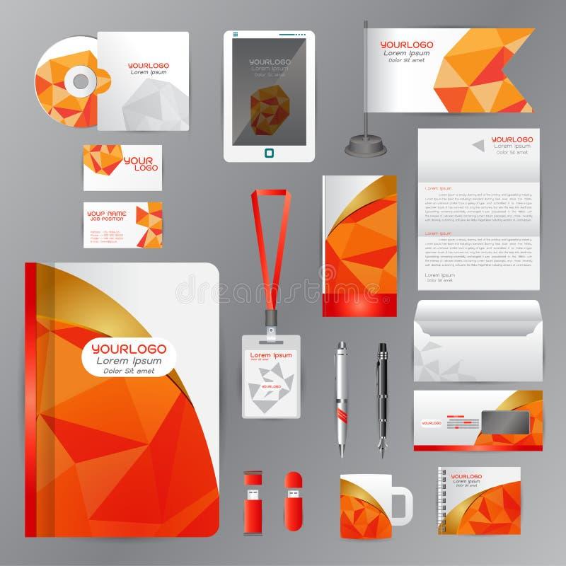 Wit identiteitsmalplaatje met Oranje origamielementen Vectorcom stock illustratie