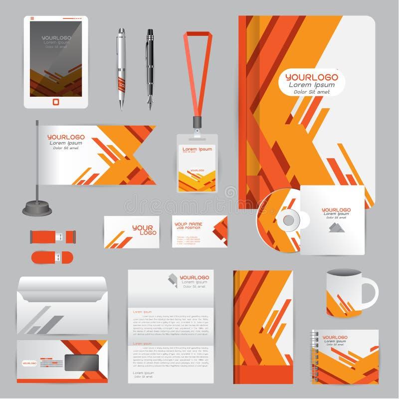 Wit identiteitsmalplaatje met Oranje origamielementen Vectorcom royalty-vrije illustratie
