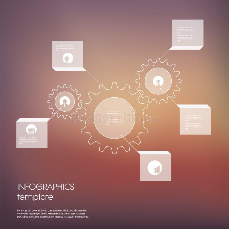 Wit industrieel infographic malplaatje als achtergrond met transparante elementen en reeks pictogrammen voor bedrijfspresentatie royalty-vrije illustratie