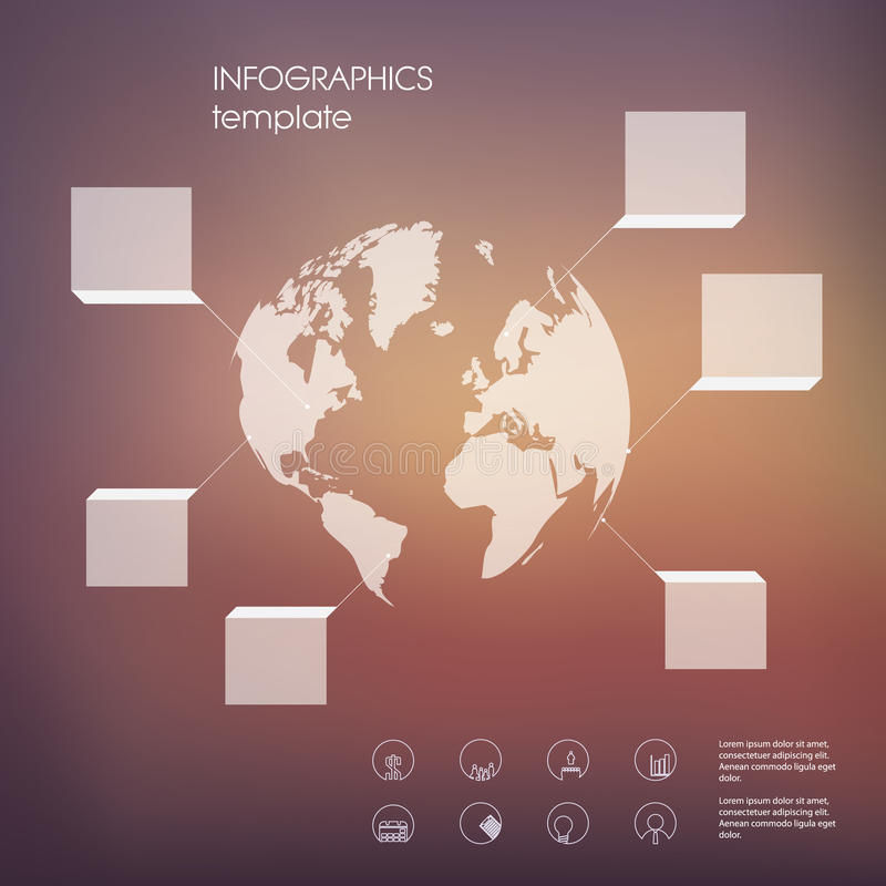 Wit infographic malplaatje met transparante elementen en reeks pictogrammen voor bedrijfspresentatie royalty-vrije illustratie
